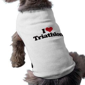 I Love Triathlon Pet Shirt