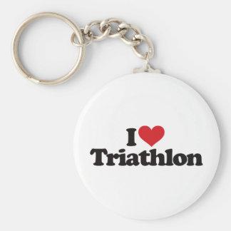 I Love Triathlon Keychain