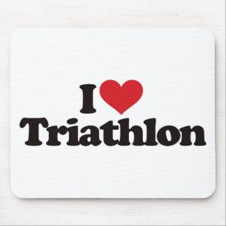 I Love Triathlon Mousepads