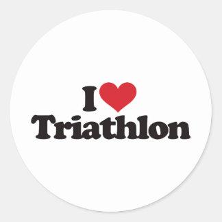 I Love Triathlon Classic Round Sticker