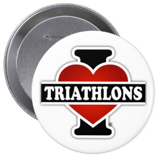I Love Triathlons 10 Cm Round Badge