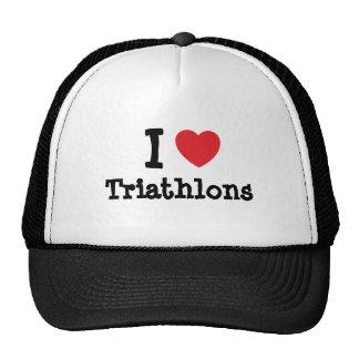 I love Triathlons heart custom personalized Trucker Hat