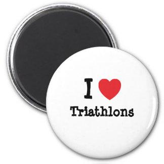 I love Triathlons heart custom personalized Magnets