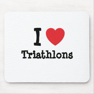 I love Triathlons heart custom personalized Mouse Mats