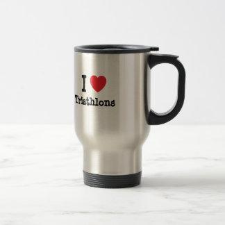 I love Triathlons heart custom personalized Mugs