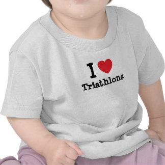 I love Triathlons heart custom personalized Tshirt