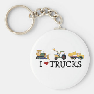 I Love Trucks Basic Round Button Key Ring