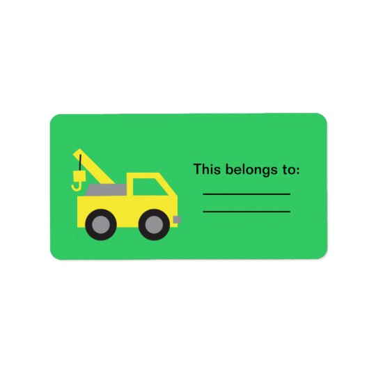 I love Trucks, Cute Yellow Vehicle for kids Address Label