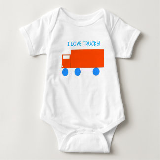 'I love Trucks!' Orange Toy Truck Baby Bodysuit