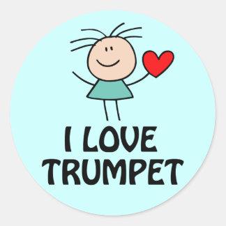 I Love Trumpet Stick Figure Music Gift Round Stickers