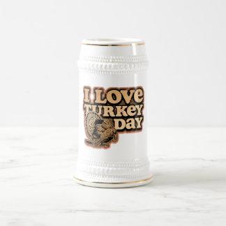 I Love Turkey Day Stein 18 Oz Beer Stein