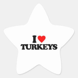 I LOVE TURKEYS STAR STICKERS