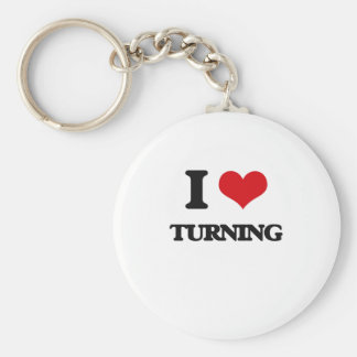 I love Turning Basic Round Button Keychain