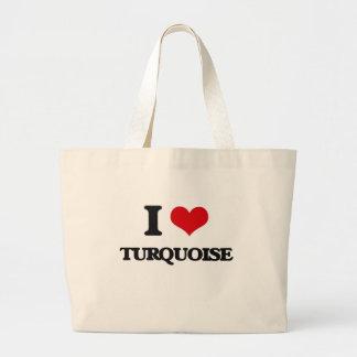 I love Turquoise Jumbo Tote Bag