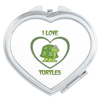 I Love Turtles Travel Mirror