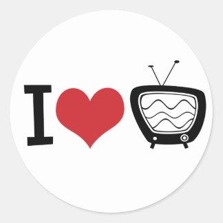 I Love TV Round Sticker