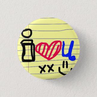 i love u doodle 3 cm round badge