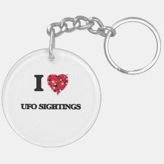 I love Ufo Sightings Double-Sided Round Acrylic Key Ring