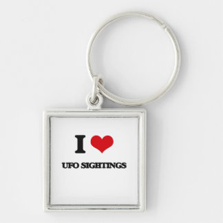 I love Ufo Sightings Silver-Colored Square Keychain