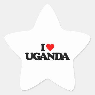 I LOVE UGANDA STAR STICKER