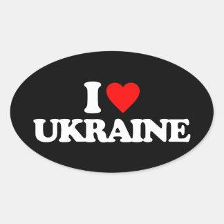 I LOVE UKRAINE OVAL STICKER