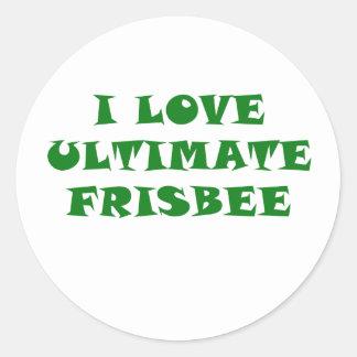 I Love Ultimate Frisbee Classic Round Sticker