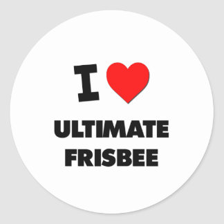 I Love Ultimate Frisbee Classic Round Sticker
