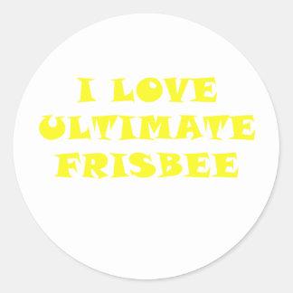 I Love Ultimate Frisbee Round Sticker