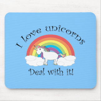 I love unicorns deal with it blue mousepad