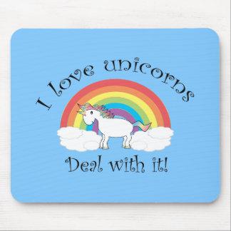 I love unicorns deal with it blue mousepad