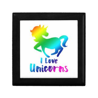 I Love Unicorns Rainbow Design Gift Box