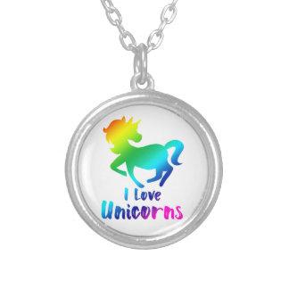 I Love Unicorns Rainbow Design Silver Plated Necklace