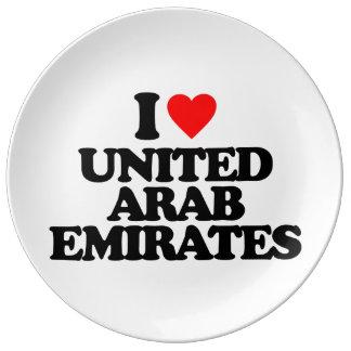 I LOVE UNITED ARAB EMIRATES PORCELAIN PLATES
