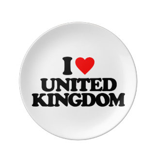 I LOVE UNITED KINGDOM PORCELAIN PLATE