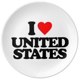 I LOVE UNITED STATES PORCELAIN PLATE
