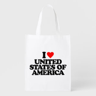 I LOVE UNITED STATES OF AMERICA GROCERY BAG
