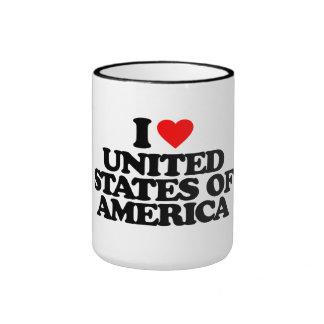 I LOVE UNITED STATES OF AMERICA RINGER MUG