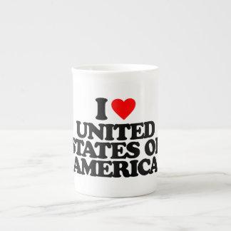I LOVE UNITED STATES OF AMERICA BONE CHINA MUGS
