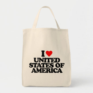 I LOVE UNITED STATES OF AMERICA TOTE BAGS