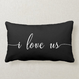 I Love Us Pillow Modern Script