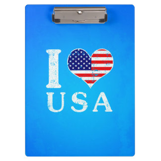 I LOVE USA - American Flag Clipboard