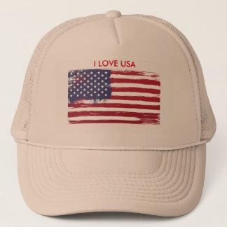 I Love USA Flag Trucker Hat Men Cap
