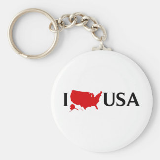 I Love USA - I Love the US - I Love United States Basic Round Button Key Ring