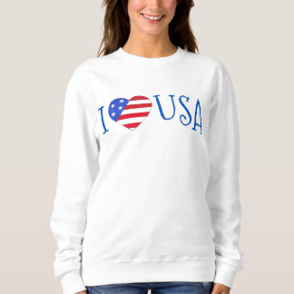 I Love USA Patriotic July 4th American Flag Heart Sweatshirt