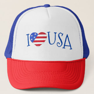 I Love USA Patriotic July 4th American Flag Heart Trucker Hat