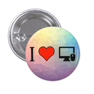 I Love Using My Computer All Day 3 Cm Round Badge