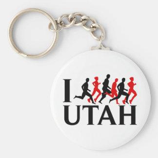 I LOVE UTAH, I RUN UTAH BASIC ROUND BUTTON KEY RING