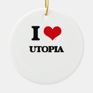 I love Utopia Round Ceramic Decoration
