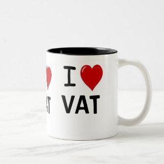 I Love VAT I Love VAT I Heart VAT Triple Sided Two-Tone Coffee Mug