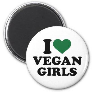 I love vegan girls 6 cm round magnet